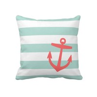 Mint & Coral Nautical Stripes and Cute Anchor Throw Pillow from Zazzle.com