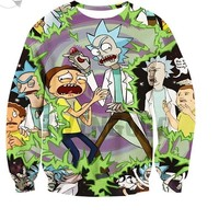 3D Rick and Morty Sweatshirt Men  Long Sleeve Winter Cartoon Anime