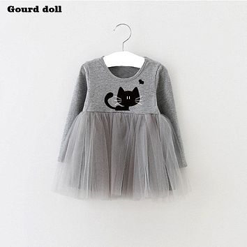 Baby Girls Dress character cat Infant Party Dress For Toddler Girl 4-24M Brithday Baptism Clothes Double Formal Dresses