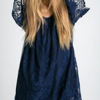 Blue Cut Out Shoulder Sheer Lace Shift Dress - Choies.com