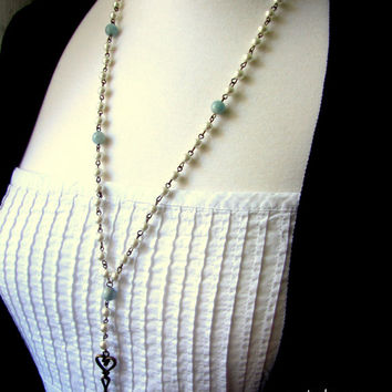 Pearl Rosary necklace Key Necklace Vintage style Pearl Necklace White blue Bronze