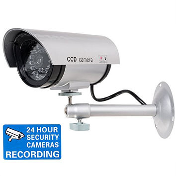 WALI Bullet Dummy Fake Surveillance Security CCTV Dome Camera Indoor Outdoor with Record LED Light + Warning Security Alert Sticker Decals WL-TC-S1