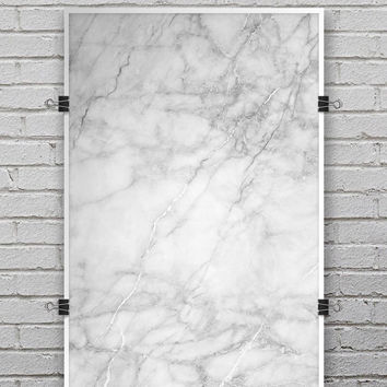 White Scratched Marble - Ultra Rich Poster Print