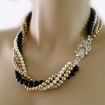 Black Pearl Necklace Costume Wedding from PearlJewelryNecklace