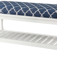 Crestview Atlantic Blue and White Accent Bench - CVFZR900
