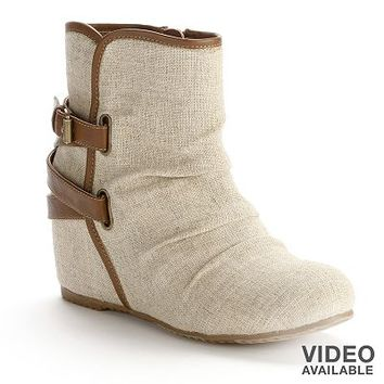 Mudd Beige/Khaki Canvas Wedge Ankle Boots - Women
