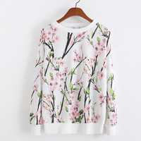 Round Neck Sweatshirts Autumn Wild Slim Fleece Hoodies Women's Cotton Flowers Print Harajuku Pullovers One Size = 1741671876
