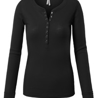 LE3NO Womens Fitted Round Neck Long Sleeve Henley Thermal Shirt (CLEARANCE)