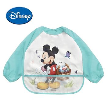 Disney Waterproof Baby Bibs Long Sleeve Cartoon Cotton Minnie Bib Burp Clothes Baberos Baby Stuff Disney Accessory