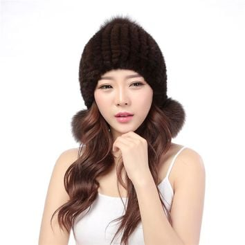 Mink knitted hat female fox fur ball winter thermal 21-year-old ear protector cap mink fur hat
