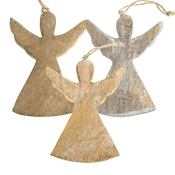 Hanging Wooden Distressed Angel with Wings Christmas Ornament, 4-3/4-Inch