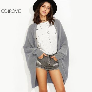 Sleeve Cardigan Grey Curved Open Front Women Knitted Sweater Fall Fashion Cocoon Long Cardigan
