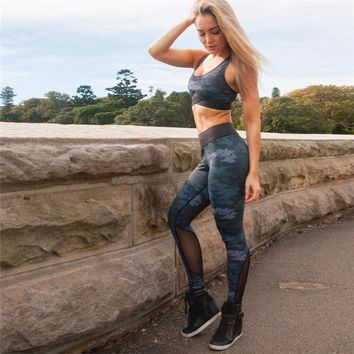 Camouflage Running Yoga Set Sport 2 in 1 Bra+Pants Female Breathable Gym Jogging Sport Set Summer Quick Dry Girls Yoga Suits Set