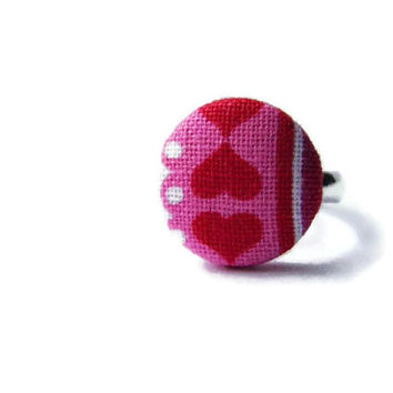 Fabric button ring adjustable red pink white hearts Valentines Day gift for her romantic