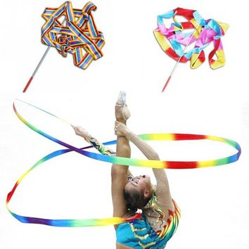 1Pcs 4M Dance Ribbon Gym Rhythmic Gymnastics Art Gymnastic Ballet Streamer Twirling Rod