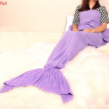 Adult Sofa Home Sweaters Handmade Knitted Cover Crochet Mermaid Tail Shape Blanket Sleeping Sofa Blanket Sweater Hot SVB030789