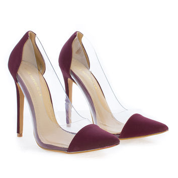 Gwen Burgundy By Shoe Republic, D'Orsay Seamless Lucite Pointy Toe Stiletto Heel Pumps
