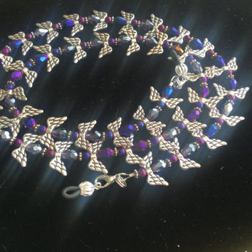 Purple And Silver Angel  Eyeglass Chain