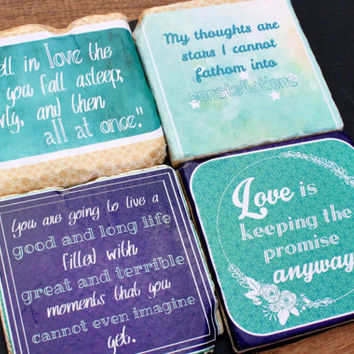 Fault in Our Stars-John Green-Literary Quote Coasters.