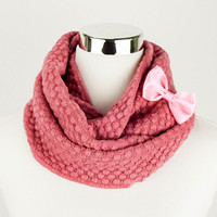 Rose Pink Scarf Custom Pink Knitted Scarf Knitted Infinity Scarves Pink Scarves Knitted Infinity Scarf Knit Infinity Scarf Gifts For Her new