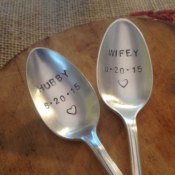 Hand Stamped Silver Plate Wedding Spoons, Stamped Silverware, Vintage Silver Spoon, Bridal Shower Gift, Bride Gift, Wedding Decor