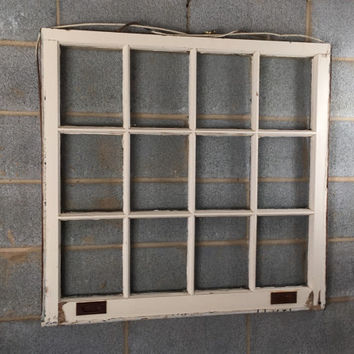"Vintage 12 Pane Window Frame - 35"" x 34L"", White, Rustic, Antique, Wedding, Beach Decor, Photos, Pictures, Engagement, Holiday, Business"