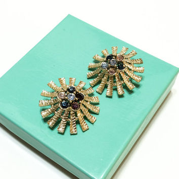 Statement Earrings, Spiky Earrings, Goldtone & Rhinestones, Atomic Age Jewelry, Signed Emmons, 1950s, Vintage Jewelry