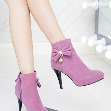 New Women Purple Round Toe Stiletto Bow Zipper Fashion Ankle Boots
