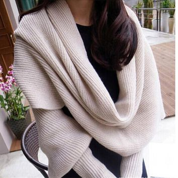 Ladies Winter Warm Knitting Long Soft Wraps sleeve Scarf