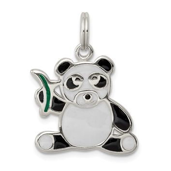 925 Sterling Silver Enameled Panda Bear Charm and Pendant