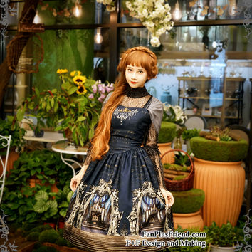 Quantity Limited: Musical Palmer II, Elegant Classic Lolita 4pcs JSK/Dress and Ruffle Choker Set*2colors