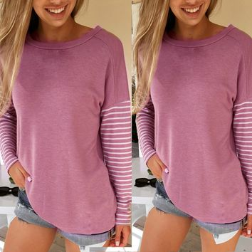 Blank Top with Striped Sleeves