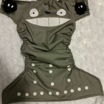 Totoro Cloth Diaper Cover or Pocket Diaper- One-Size or Newborn, S, M, L