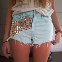 High waisted shorts half studded on the front- step design