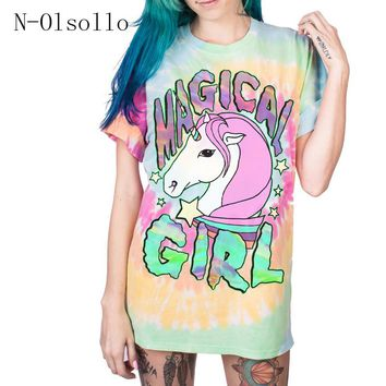 Polyester/Spandex Unicorn Rainbow 3D Printed T-shirt Female Clothing Knitted Casual Summer Tops 2017 New Design Fashion Tshirts