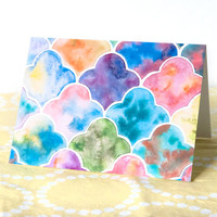 Blank Card with Envelope - Watercolor Quatrefoil Pattern - A6 Sized Cards