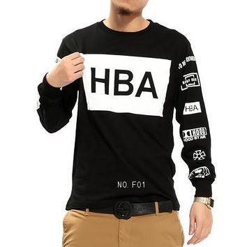 mens fashion clothing Hood by air hba x been trill kanye west long sleeve neack hip hop Sweatershirt