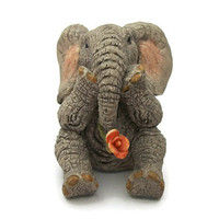 "Vintage Elephant Figurine , Tuskers Hand Painted ""Rose"" 1996 Elephant Miniature Animal Collectible , Sitting Elephant Knick Knack"