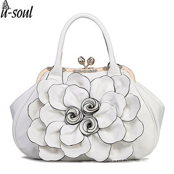 Fashion Women Frame Bag With Rose Flower Hasp Vintage Women Handbag Tote With Diamond  Leahter Shoulder Bag Handbags SC0112
