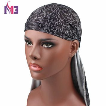 New Fashion Men's Durags Bandana Turban Hat Wigs Doo Printed Durag Biker Headwear Headband Pirate Hat Hair Accessories