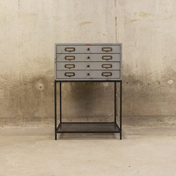 Industrial Side Table Vintage Photo Slide Drawer with ReBar Legs and Mesh Lower Shelf