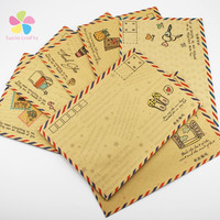 17.5*12.5CM 6pcs set Random pattern Kraft Material Air Envelope To Mail Postcards Protect 049004010