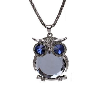 Black Crystal Gem Animal Owl Pendant Necklaces