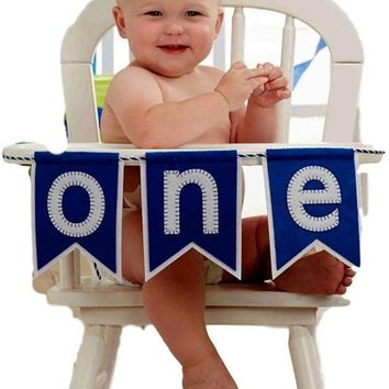 Mud Pie-Blue 'One' High Chair Banner