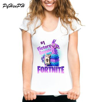 2018 Summer Funny Fortnite Llama Women T-Shirt Cool Design  Printed T Shirts O-neck Soft Short Sleeve Casual Slim White Tops