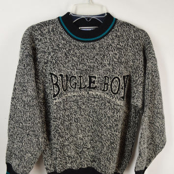 90s Sweater Bugle Boy Jumper XS Teal Soft Grunge Hipster Seapunk Gray Black White Vintage Clothing Boys 1990s Tumblr Streetwear