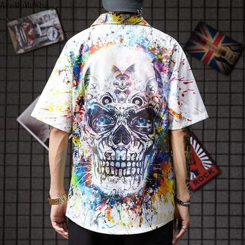Graffiti Pattern Skull Short-sleeved Shirt