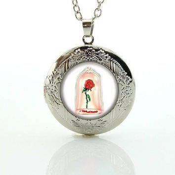Rose Locket Beauty and The Beast Necklace