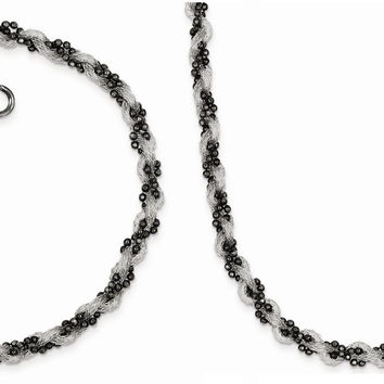 Sterling Silver Black Rhodium Plated Mesh And Beaded Necklace and Bracelet Set