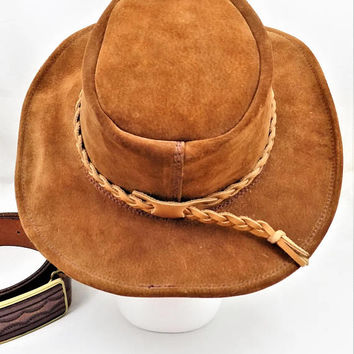 Australian Brown Suede Outback Hat, Braided Leather Hat Band, Made in Australia